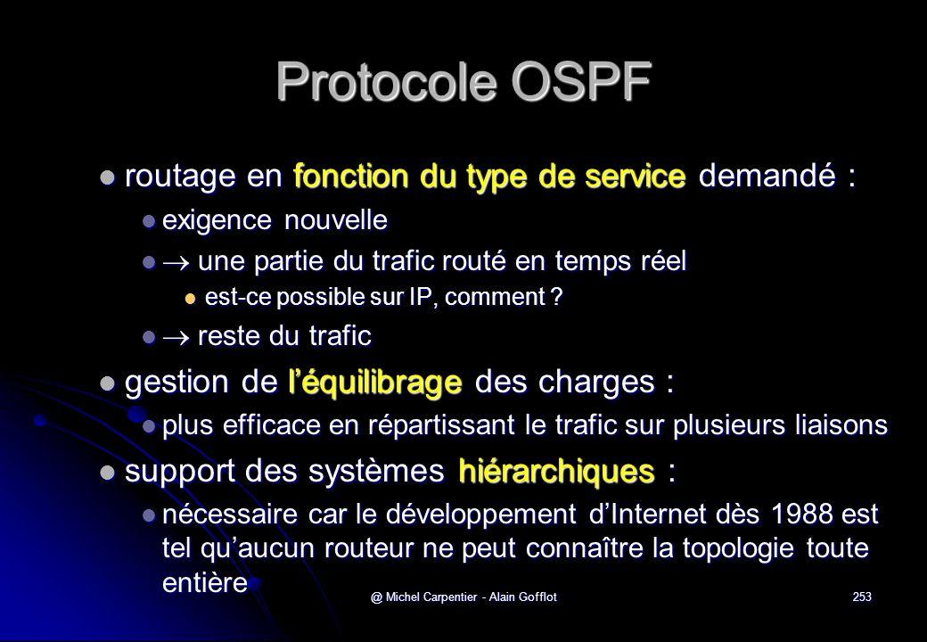 @ Michel Carpentier - Alain Gofflot253 Protocole OSPF  routage en fonction du type de service demandé :  exigence nouvelle   une partie du trafic