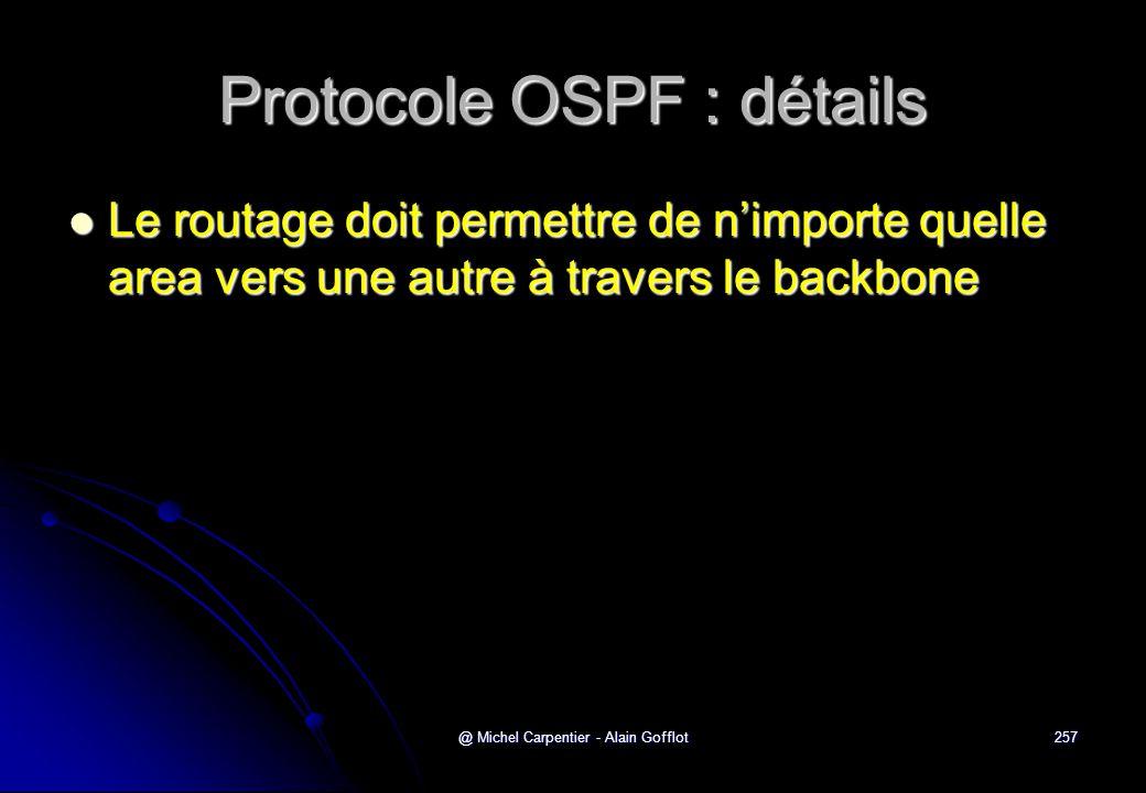 @ Michel Carpentier - Alain Gofflot257 Protocole OSPF : détails  Le routage doit permettre de n'importe quelle area vers une autre à travers le backb