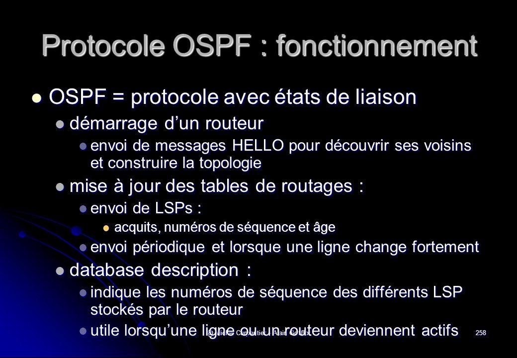 @ Michel Carpentier - Alain Gofflot258 Protocole OSPF : fonctionnement  OSPF = protocole avec états de liaison  démarrage d'un routeur  envoi de me