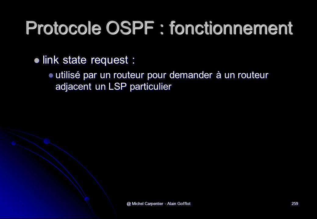 @ Michel Carpentier - Alain Gofflot259 Protocole OSPF : fonctionnement  link state request :  utilisé par un routeur pour demander à un routeur adja