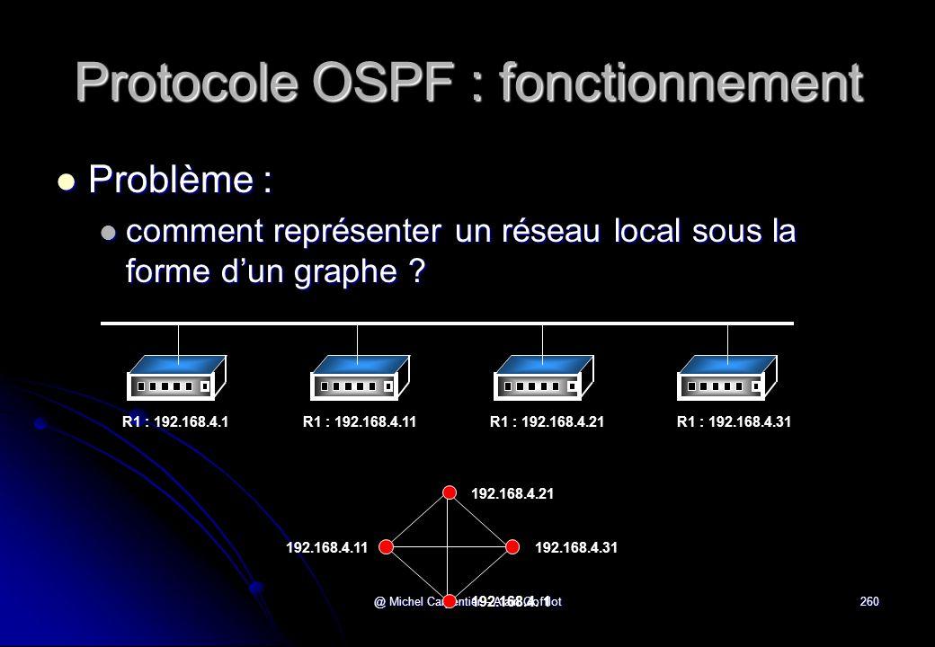 @ Michel Carpentier - Alain Gofflot260 Protocole OSPF : fonctionnement  Problème :  comment représenter un réseau local sous la forme d'un graphe ?