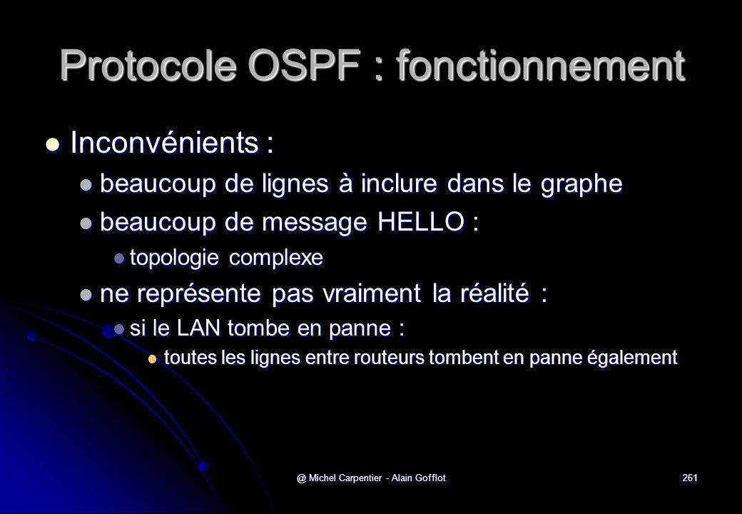 @ Michel Carpentier - Alain Gofflot261 Protocole OSPF : fonctionnement  Inconvénients :  beaucoup de lignes à inclure dans le graphe  beaucoup de m
