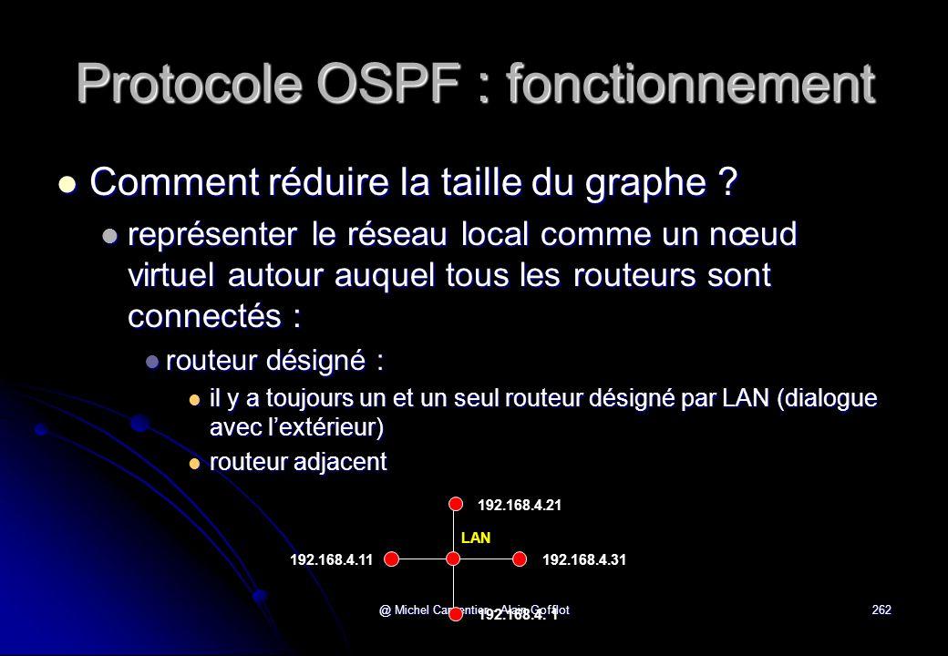 @ Michel Carpentier - Alain Gofflot262 Protocole OSPF : fonctionnement  Comment réduire la taille du graphe ?  représenter le réseau local comme un