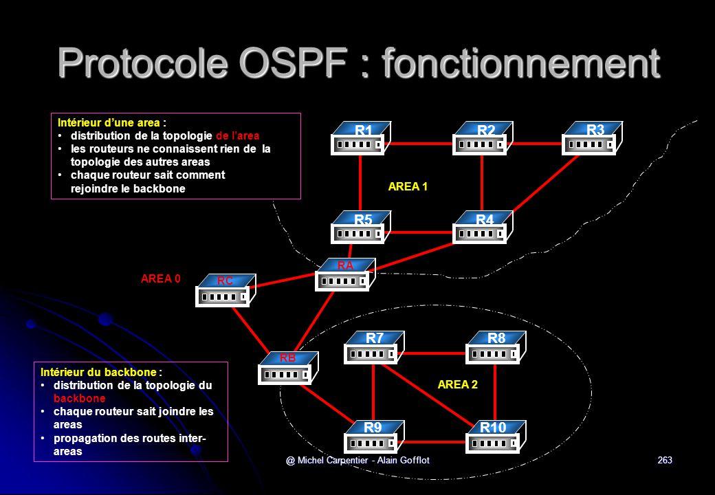 @ Michel Carpentier - Alain Gofflot263 Protocole OSPF : fonctionnement R1R2 R3 R4 D R5 AREA 1 R7R8 R10 D R9 AREA 2 RA RB RC AREA 0 Intérieur d'une are
