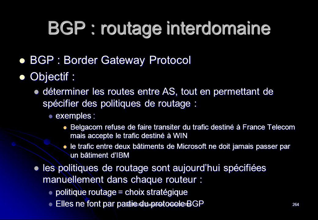 @ Michel Carpentier - Alain Gofflot264 BGP : routage interdomaine  BGP : Border Gateway Protocol  Objectif :  déterminer les routes entre AS, tout