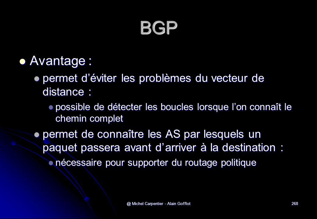 @ Michel Carpentier - Alain Gofflot268 BGP  Avantage :  permet d'éviter les problèmes du vecteur de distance :  possible de détecter les boucles lo
