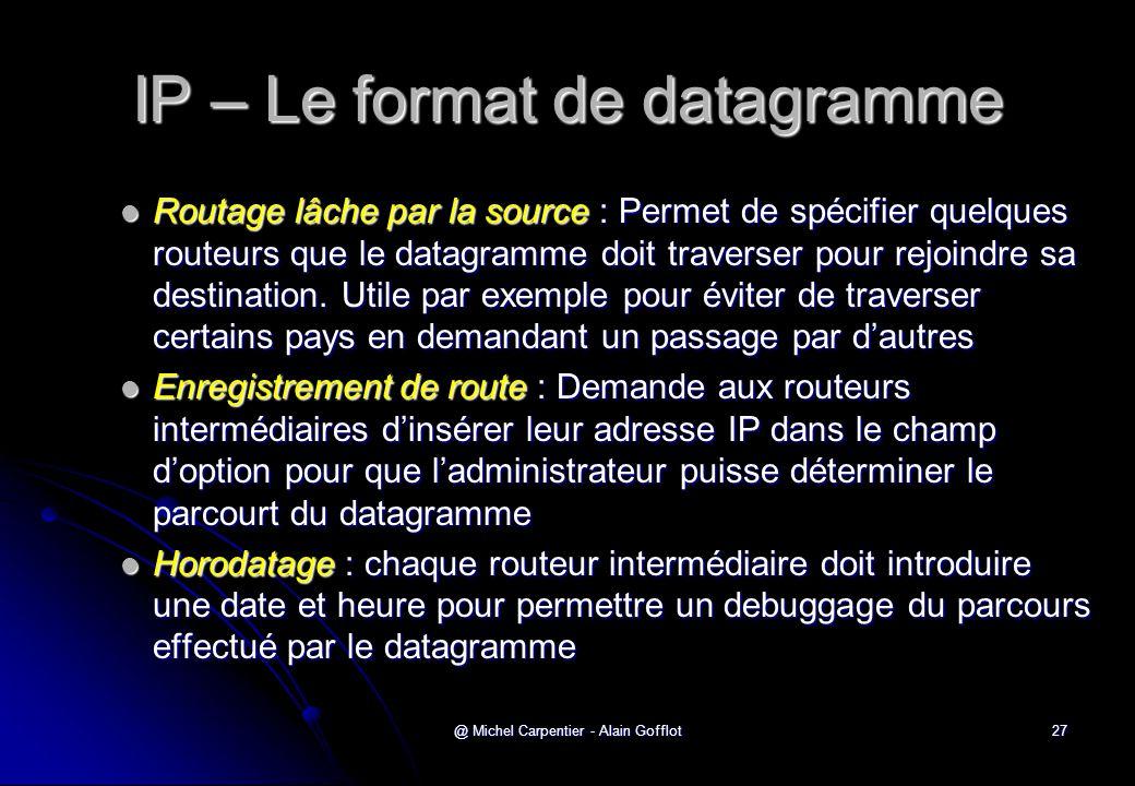 @ Michel Carpentier - Alain Gofflot27 IP – Le format de datagramme  Routage lâche par la source : Permet de spécifier quelques routeurs que le datagr