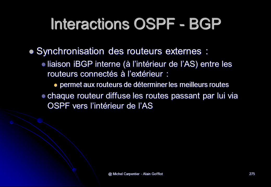 @ Michel Carpentier - Alain Gofflot275 Interactions OSPF - BGP  Synchronisation des routeurs externes :  liaison iBGP interne (à l'intérieur de l'AS