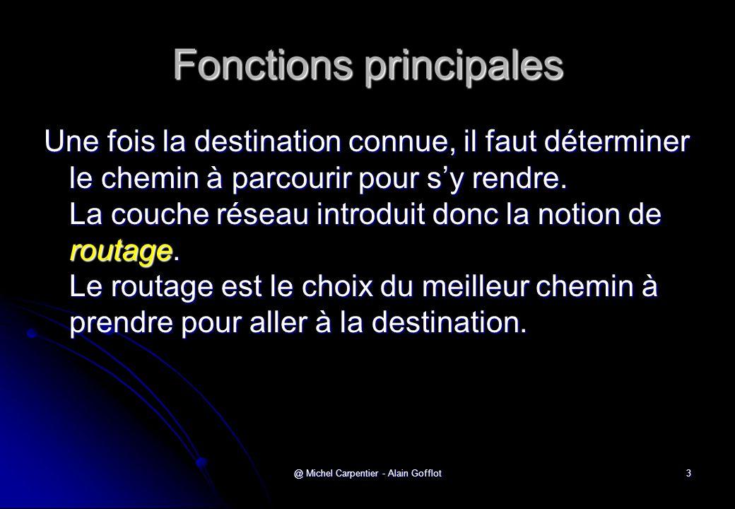 @ Michel Carpentier - Alain Gofflot3 Fonctions principales Une fois la destination connue, il faut déterminer le chemin à parcourir pour s'y rendre. L