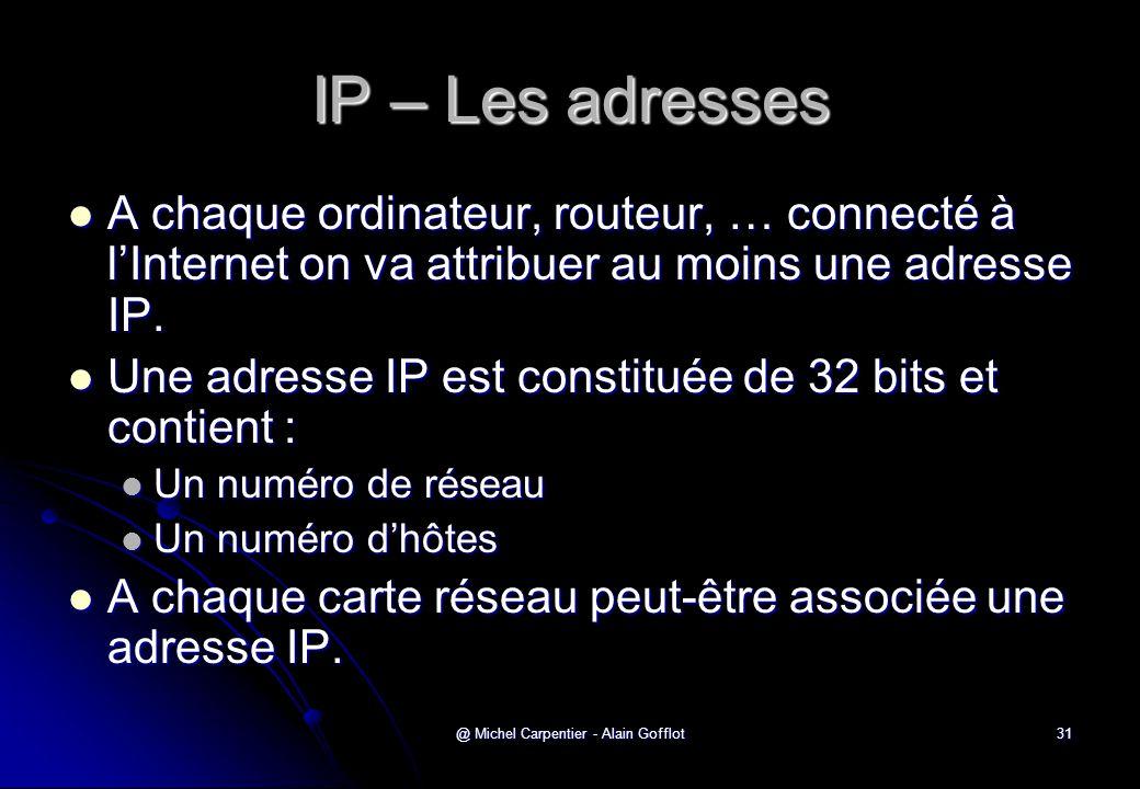@ Michel Carpentier - Alain Gofflot31 IP – Les adresses  A chaque ordinateur, routeur, … connecté à l'Internet on va attribuer au moins une adresse I