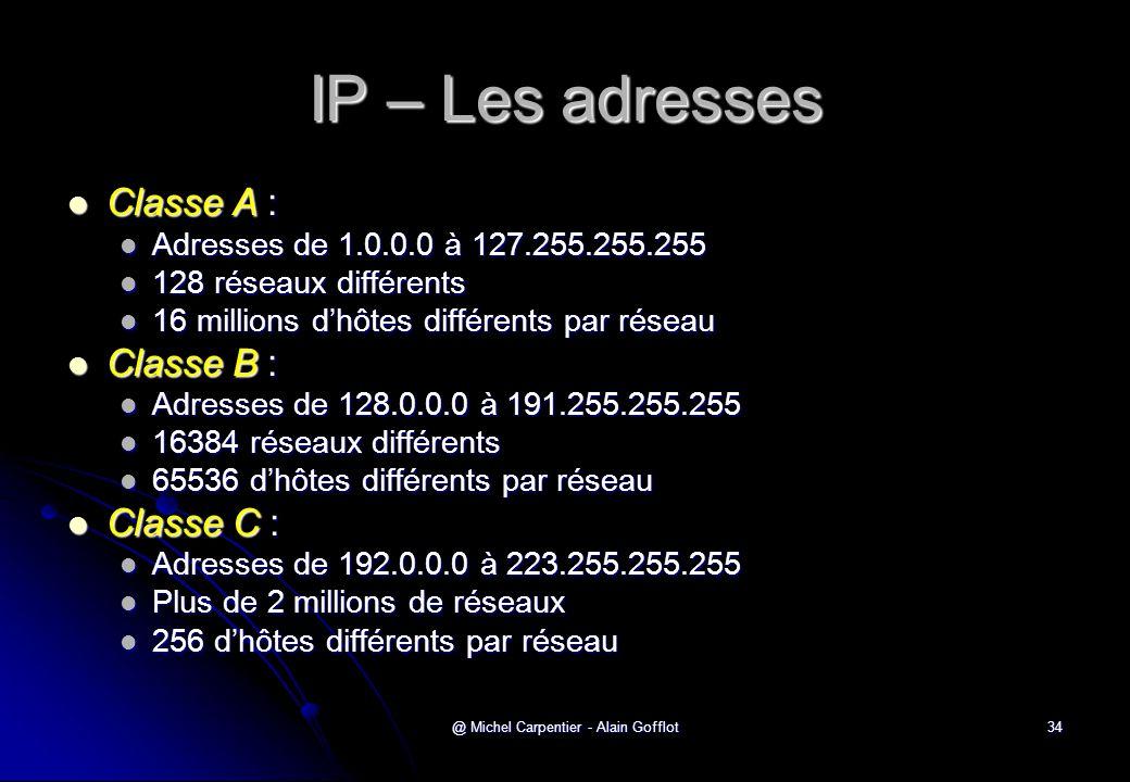 @ Michel Carpentier - Alain Gofflot34 IP – Les adresses  Classe A :  Adresses de 1.0.0.0 à 127.255.255.255  128 réseaux différents  16 millions d'