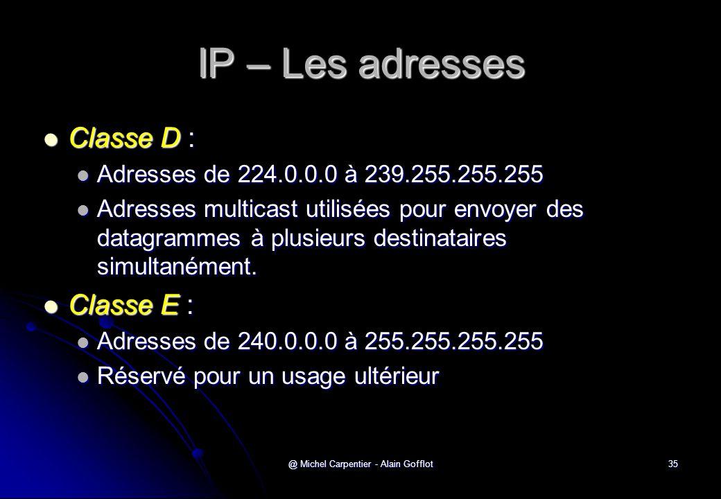 @ Michel Carpentier - Alain Gofflot35 IP – Les adresses  Classe D :  Adresses de 224.0.0.0 à 239.255.255.255  Adresses multicast utilisées pour env