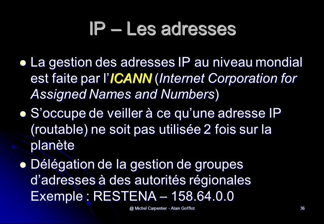 @ Michel Carpentier - Alain Gofflot36 IP – Les adresses  La gestion des adresses IP au niveau mondial est faite par l'ICANN (Internet Corporation for