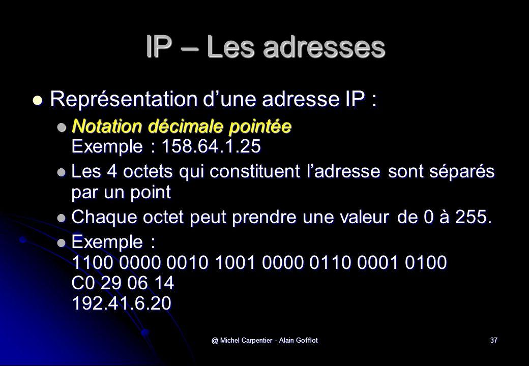 @ Michel Carpentier - Alain Gofflot37 IP – Les adresses  Représentation d'une adresse IP :  Notation décimale pointée Exemple : 158.64.1.25  Les 4