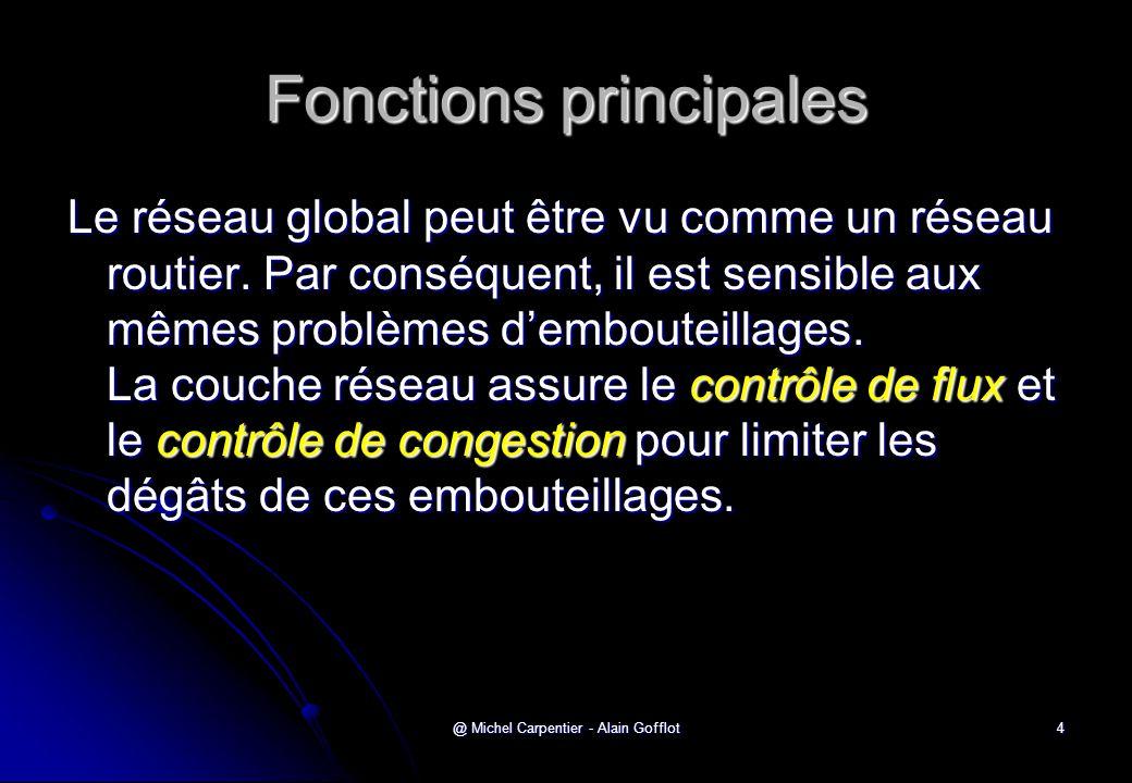 @ Michel Carpentier - Alain Gofflot4 Fonctions principales Le réseau global peut être vu comme un réseau routier. Par conséquent, il est sensible aux