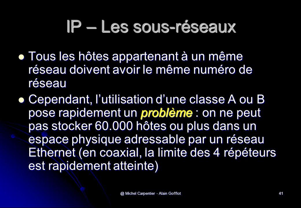 @ Michel Carpentier - Alain Gofflot41 IP – Les sous-réseaux  Tous les hôtes appartenant à un même réseau doivent avoir le même numéro de réseau  Cep