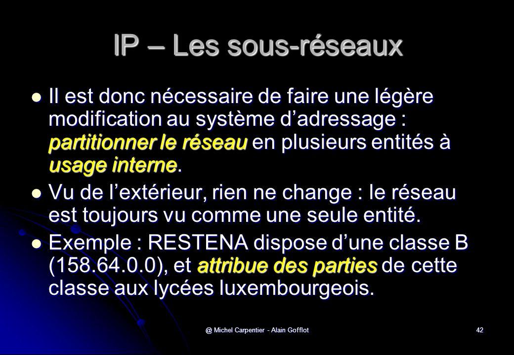 @ Michel Carpentier - Alain Gofflot42 IP – Les sous-réseaux  Il est donc nécessaire de faire une légère modification au système d'adressage : partiti