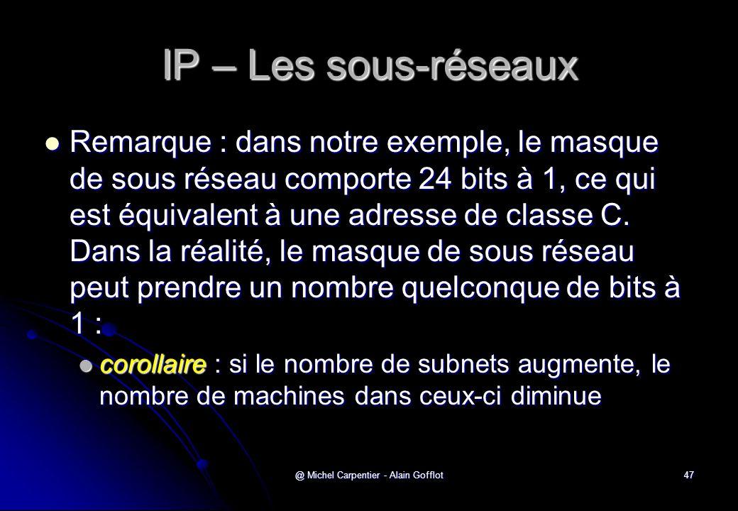 @ Michel Carpentier - Alain Gofflot47 IP – Les sous-réseaux  Remarque : dans notre exemple, le masque de sous réseau comporte 24 bits à 1, ce qui est