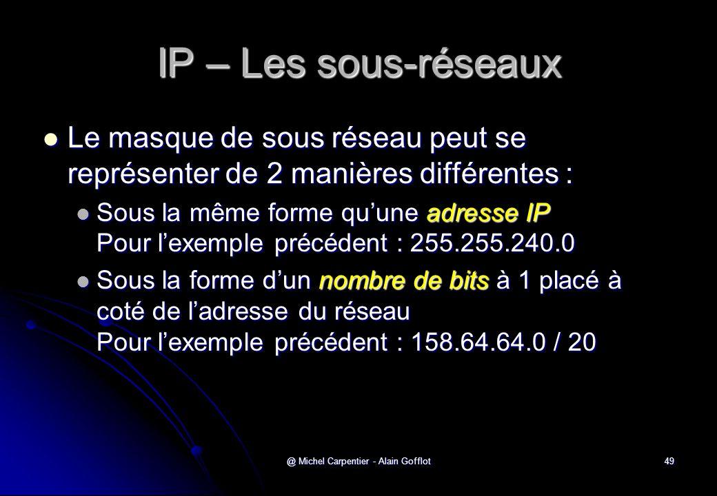 @ Michel Carpentier - Alain Gofflot49 IP – Les sous-réseaux  Le masque de sous réseau peut se représenter de 2 manières différentes :  Sous la même