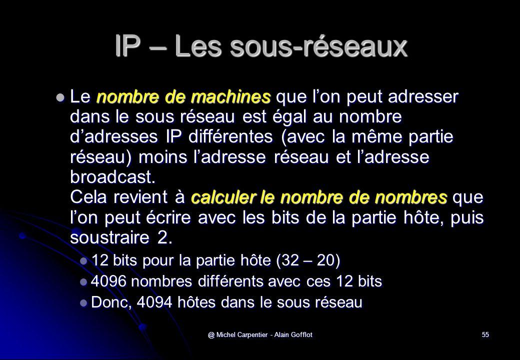 @ Michel Carpentier - Alain Gofflot55 IP – Les sous-réseaux  Le nombre de machines que l'on peut adresser dans le sous réseau est égal au nombre d'ad