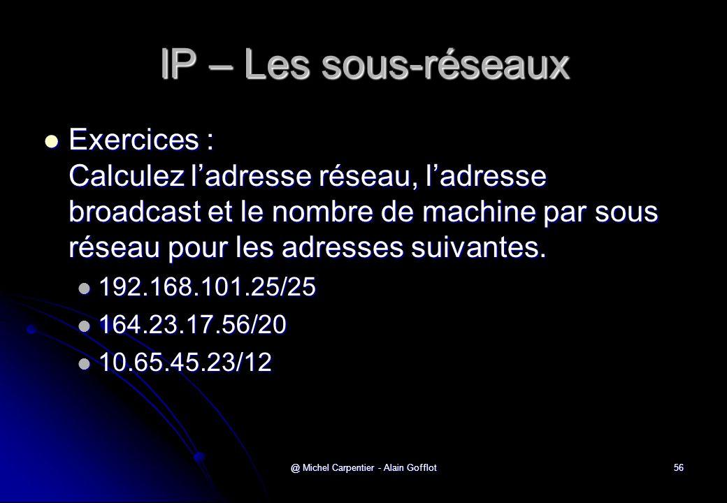 @ Michel Carpentier - Alain Gofflot56 IP – Les sous-réseaux  Exercices : Calculez l'adresse réseau, l'adresse broadcast et le nombre de machine par s