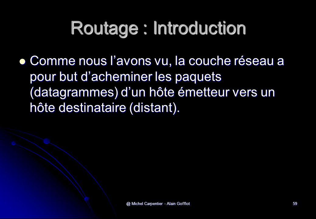 @ Michel Carpentier - Alain Gofflot59 Routage : Introduction  Comme nous l'avons vu, la couche réseau a pour but d'acheminer les paquets (datagrammes