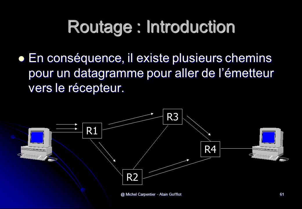 @ Michel Carpentier - Alain Gofflot61 Routage : Introduction R1 R2 R3 R4  En conséquence, il existe plusieurs chemins pour un datagramme pour aller d