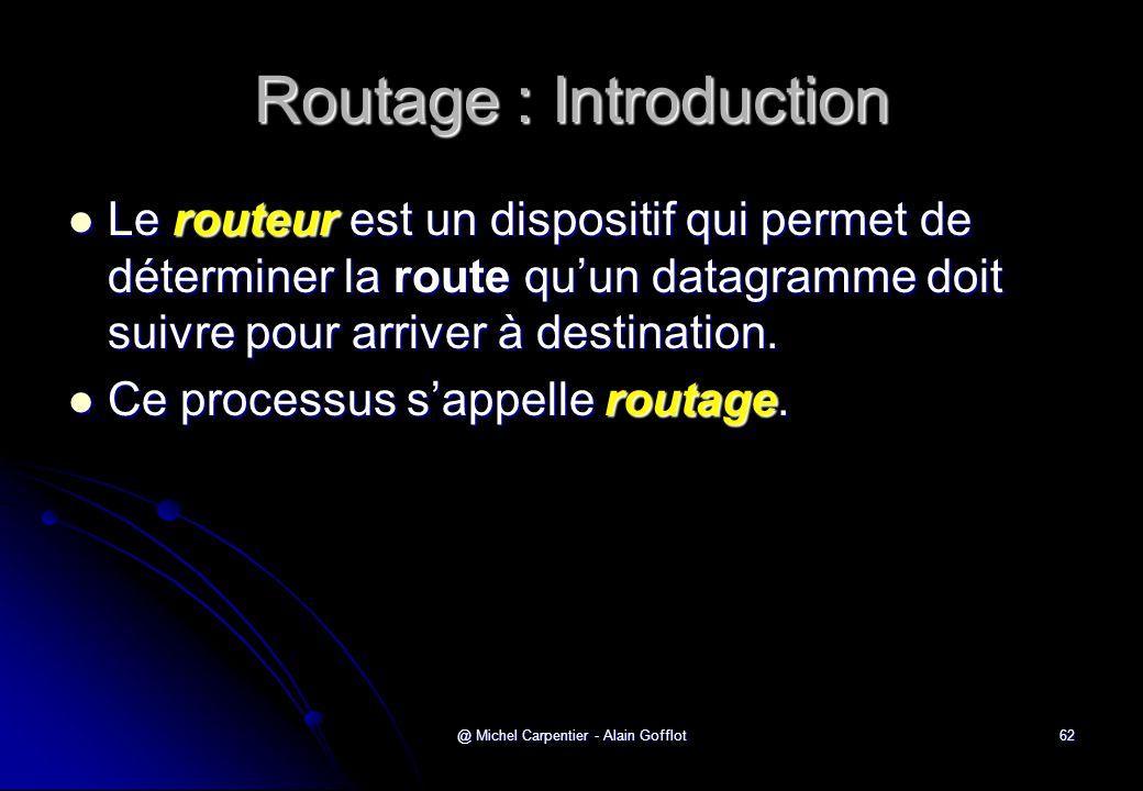 @ Michel Carpentier - Alain Gofflot62 Routage : Introduction  Le routeur est un dispositif qui permet de déterminer la route qu'un datagramme doit su