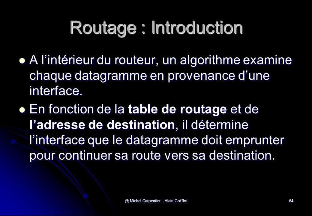 @ Michel Carpentier - Alain Gofflot64 Routage : Introduction  A l'intérieur du routeur, un algorithme examine chaque datagramme en provenance d'une i