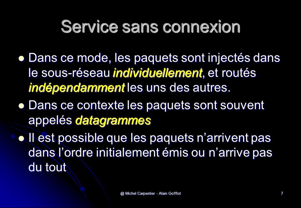 @ Michel Carpentier - Alain Gofflot7 Service sans connexion  Dans ce mode, les paquets sont injectés dans le sous-réseau individuellement, et routés