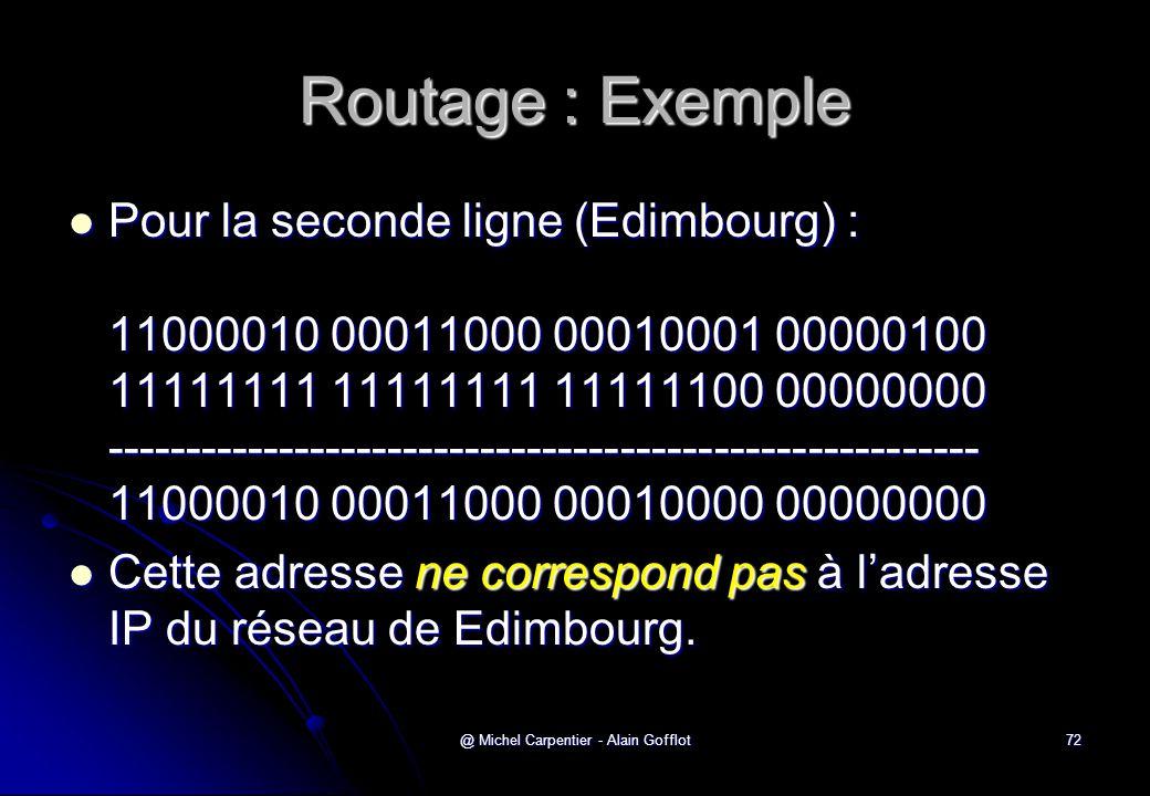 @ Michel Carpentier - Alain Gofflot72 Routage : Exemple  Pour la seconde ligne (Edimbourg) : 11000010 00011000 00010001 00000100 11111111 11111111 11