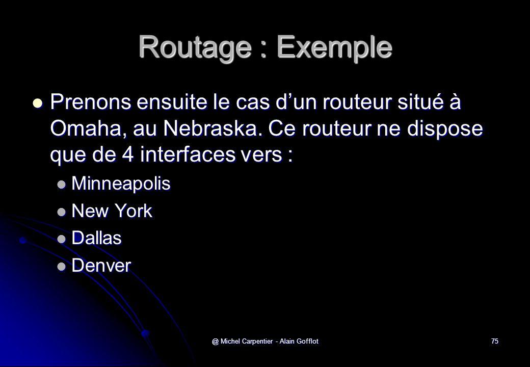 @ Michel Carpentier - Alain Gofflot75 Routage : Exemple  Prenons ensuite le cas d'un routeur situé à Omaha, au Nebraska. Ce routeur ne dispose que de