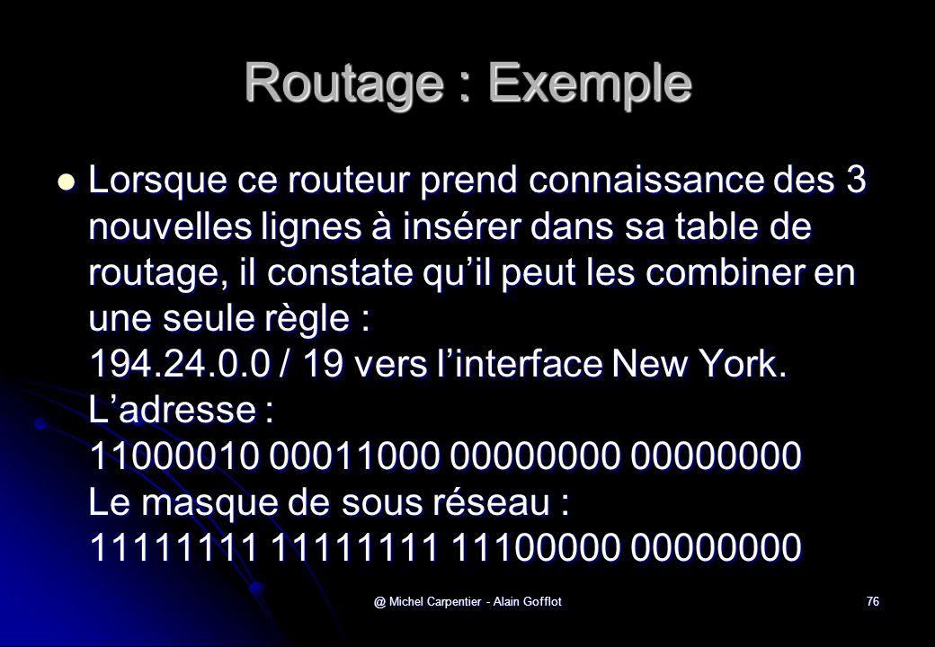 @ Michel Carpentier - Alain Gofflot76 Routage : Exemple  Lorsque ce routeur prend connaissance des 3 nouvelles lignes à insérer dans sa table de rout
