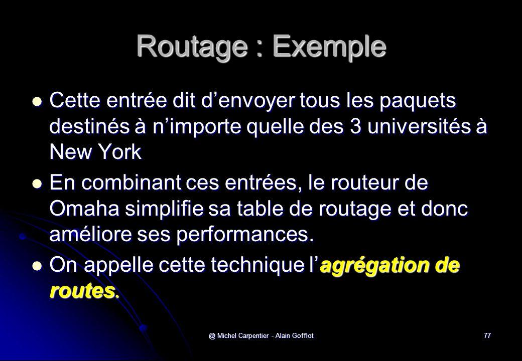 @ Michel Carpentier - Alain Gofflot77 Routage : Exemple  Cette entrée dit d'envoyer tous les paquets destinés à n'importe quelle des 3 universités à