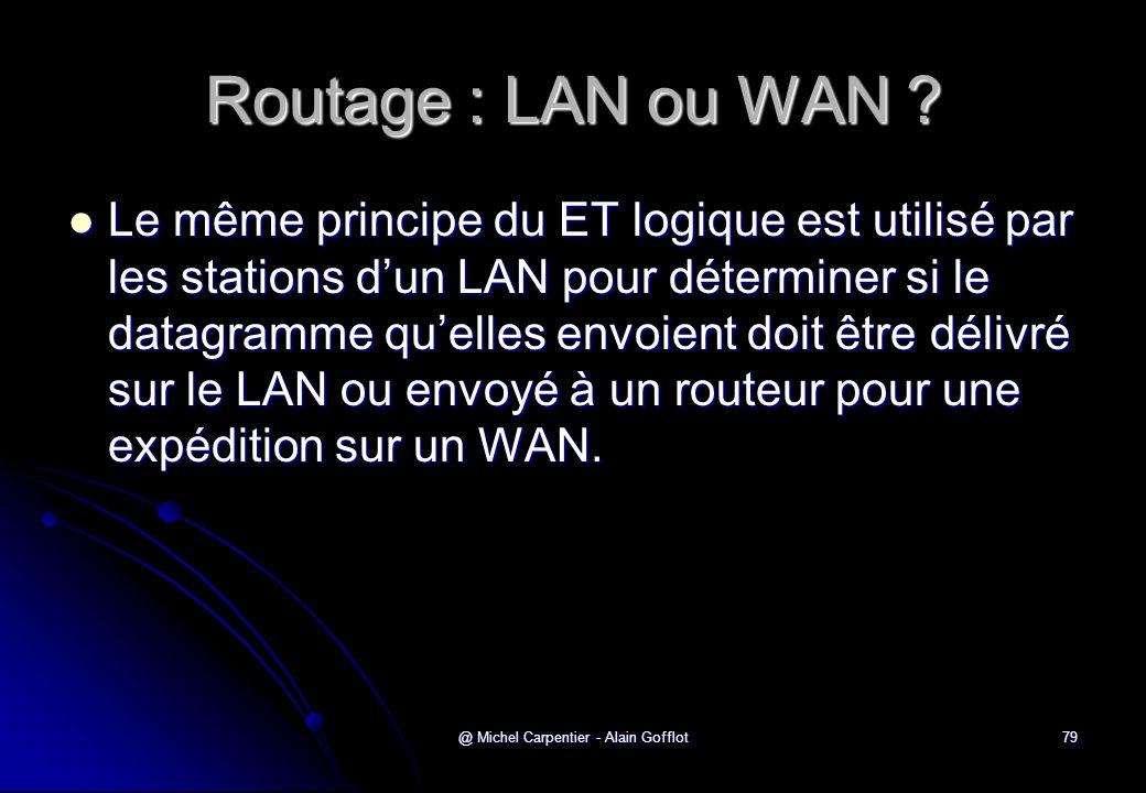 @ Michel Carpentier - Alain Gofflot79 Routage : LAN ou WAN ?  Le même principe du ET logique est utilisé par les stations d'un LAN pour déterminer si