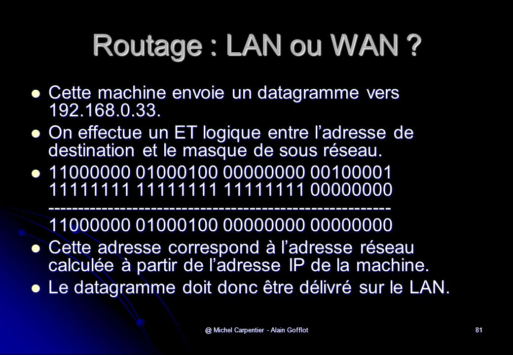 @ Michel Carpentier - Alain Gofflot81 Routage : LAN ou WAN ?  Cette machine envoie un datagramme vers 192.168.0.33.  On effectue un ET logique entre