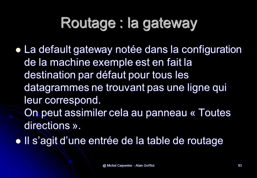 @ Michel Carpentier - Alain Gofflot83 Routage : la gateway  La default gateway notée dans la configuration de la machine exemple est en fait la desti