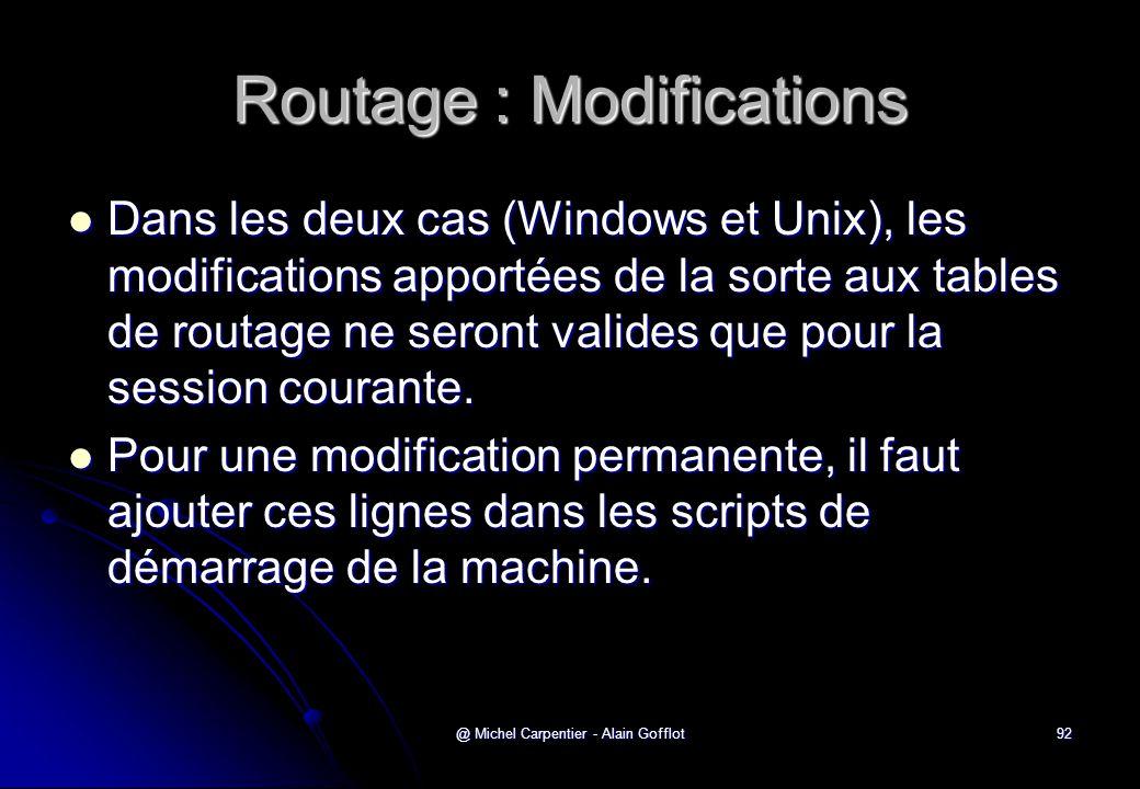 @ Michel Carpentier - Alain Gofflot92 Routage : Modifications  Dans les deux cas (Windows et Unix), les modifications apportées de la sorte aux table