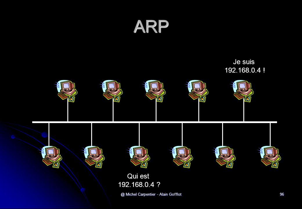 @ Michel Carpentier - Alain Gofflot96 ARP Qui est 192.168.0.4 ? Je suis 192.168.0.4 !