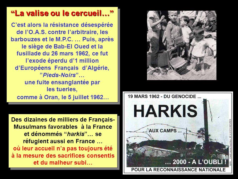 Des dizaines de milliers de Français- Musulmans favorables à la France et dénommés harkis … se réfugient aussi en France … où leur accueil n'a pas toujours été à la mesure des sacrifices consentis et du malheur subi… La valise ou le cercueil… C'est alors la résistance désespérée de l'O.A.S.