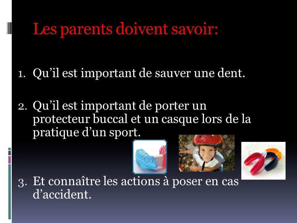 Les parents doivent savoir: 1. Qu'il est important de sauver une dent. 2. Qu'il est important de porter un protecteur buccal et un casque lors de la p