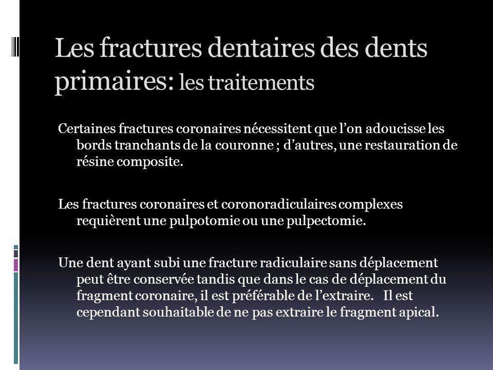 Les fractures dentaires des dents primaires: les traitements Certaines fractures coronaires nécessitent que l'on adoucisse les bords tranchants de la
