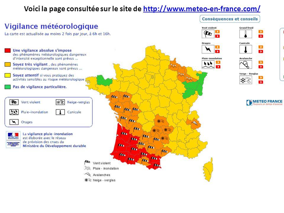 Voici la page consultée sur le site de http://www.meteo-en-france.com/http://www.meteo-en-france.com/