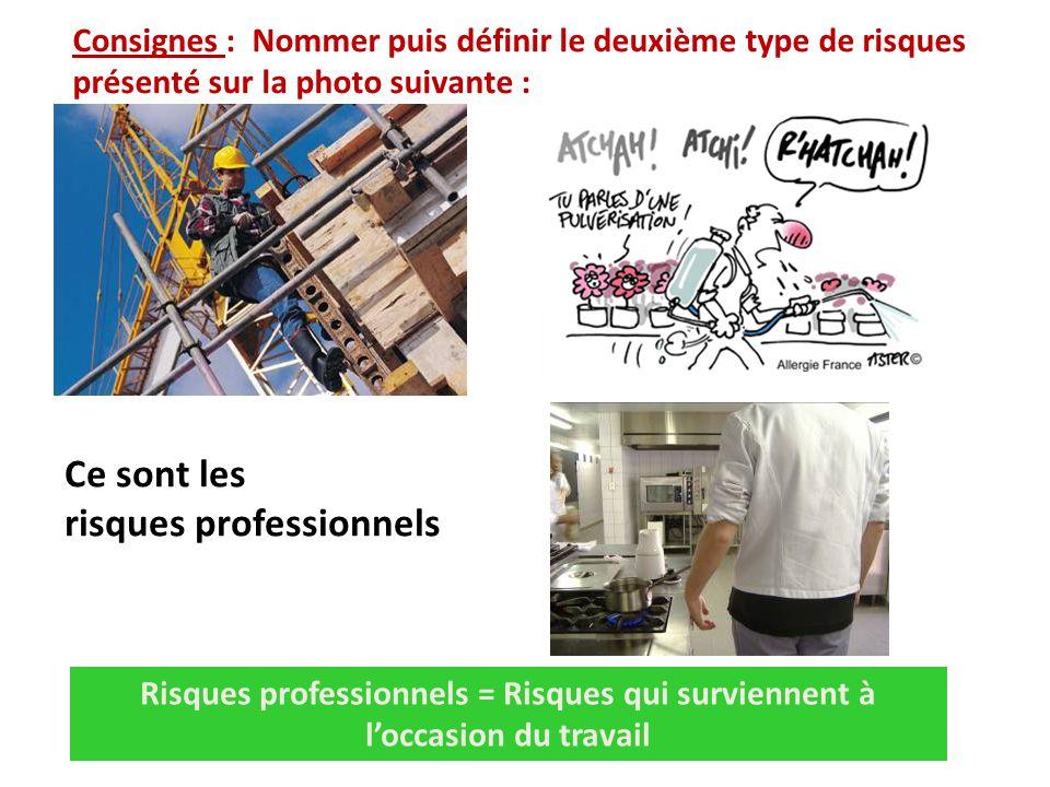 Consignes : Nommer puis définir le deuxième type de risques présenté sur la photo suivante : Risques professionnels = Risques qui surviennent à l'occasion du travail Ce sont les risques professionnels