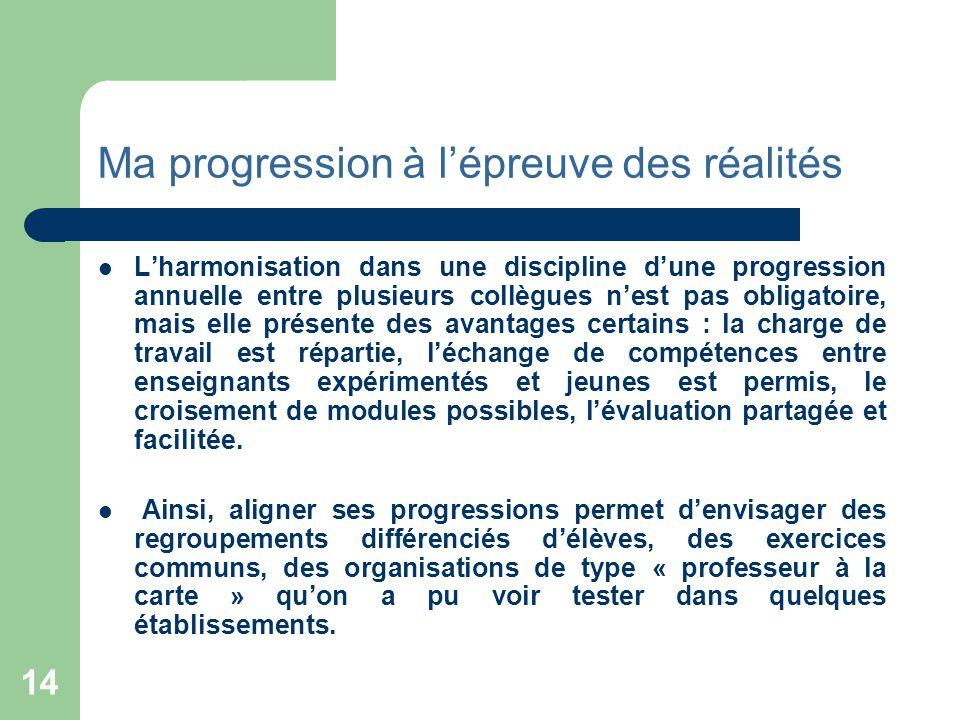14 Ma progression à l'épreuve des réalités  L'harmonisation dans une discipline d'une progression annuelle entre plusieurs collègues n'est pas obliga