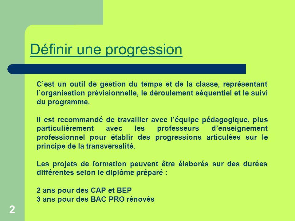 2 Définir une progression C'est un outil de gestion du temps et de la classe, représentant l'organisation prévisionnelle, le déroulement séquentiel et