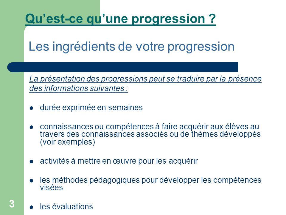 3 Qu'est-ce qu'une progression ? Les ingrédients de votre progression La présentation des progressions peut se traduire par la présence des informatio