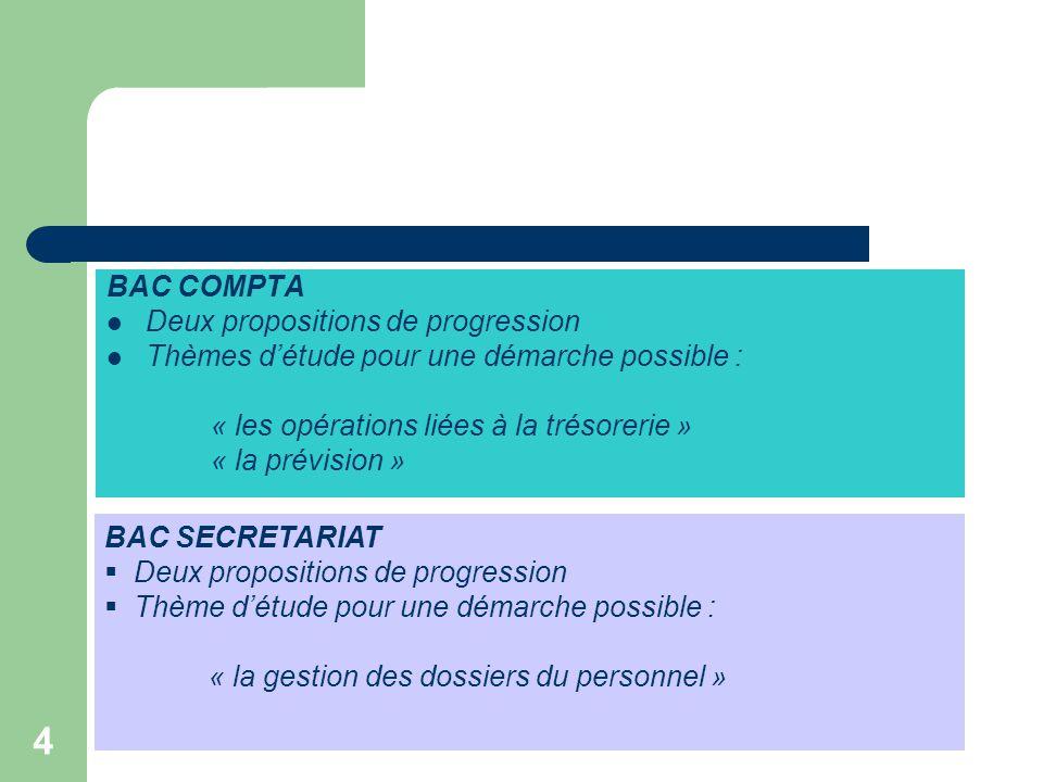 4 BAC COMPTA  Deux propositions de progression  Thèmes d'étude pour une démarche possible : « les opérations liées à la trésorerie » « la prévision » BAC SECRETARIAT  Deux propositions de progression  Thème d'étude pour une démarche possible : « la gestion des dossiers du personnel »