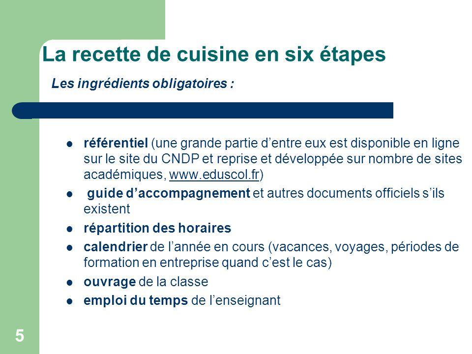 5 La recette de cuisine en six étapes Les ingrédients obligatoires :  référentiel (une grande partie d'entre eux est disponible en ligne sur le site