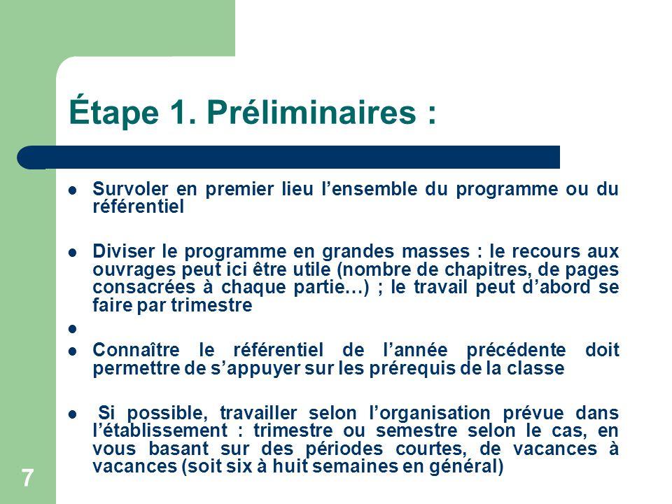 7 Étape 1. Préliminaires :  Survoler en premier lieu l'ensemble du programme ou du référentiel  Diviser le programme en grandes masses : le recours